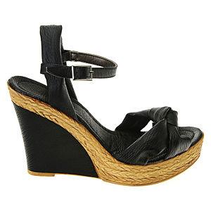 Colour Steps Siyah Bilekten Bağcıklı Dolgu Topuk Ayakkabı
