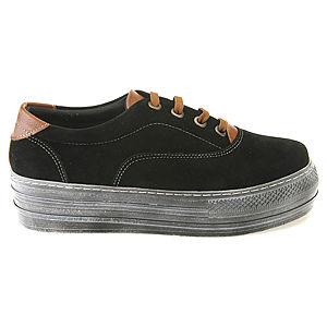 Colour Steps Siyah Süet - Kahve Topuklu Spor Ayakkabı