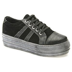 Colour Steps Siyah Süet Topuklu Spor Ayakkabı