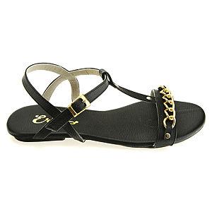 Colour Steps Siyah Zincir Detaylı Bilekten Bantlı Yazlık Sandalet