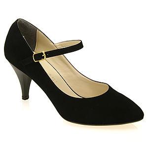 Colour Steps Süet Siyah Bilekten Bantlı Stiletto