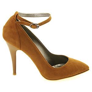 Colour Steps Taba Rengi Bilekten Bantlı Stiletto