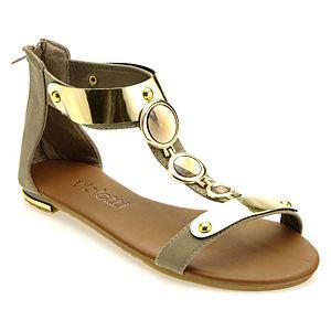Colour Steps Taşlı Metal Süslemeli Vizon Sandalet