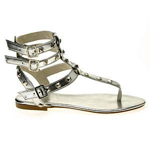 Colour Steps Valeria Gümüş Rengi Zımbalı  Sandalet