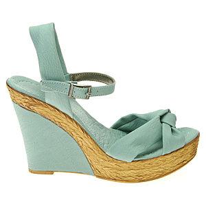 Colour Steps Yeşil Bilekten Bağcıklı Dolgu Topuk Ayakkabı