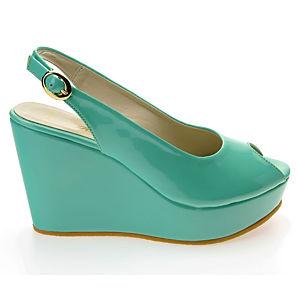 Colour Steps Yeşil Rugan Dolgu Topuk Ayakkabı