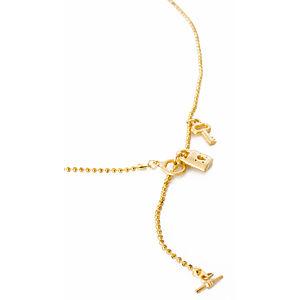 2bTrendy Anahtar ve kilit figürlü altın kaplama kolye
