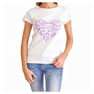 2bTrendy Beyaz Heart Kelebekler T-Shirt