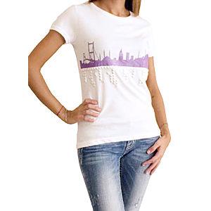 2bTrendy Beyaz İstanbul Manzaralı T-Shirt