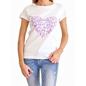 2bTrendy Beyaz Mor Kalpli T-Shirt