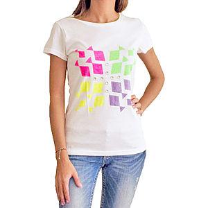 2bTrendy Beyaz Neon Desenli T-Shirt