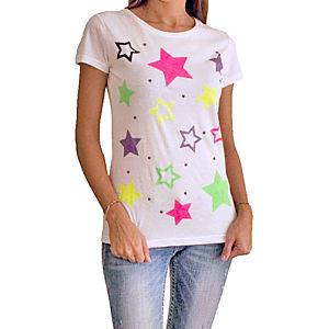 2bTrendy Beyaz Neon Yıldızlı T-Shirt