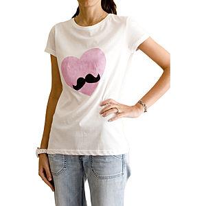 2bTrendy Beyaz Pembe Kalpli T-Shirt