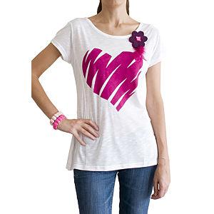 2bTrendy Fuşya Kalp Desenli T-Shirt