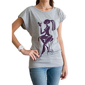 2bTrendy Kadın Desenli Gri T-Shirt
