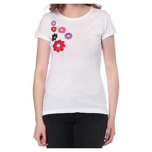 2bTrendy Kırmızı Çiçekler Beyaz T-Shirt