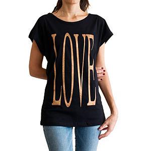 2bTrendy Love Yazılı Siyah T-Shirt