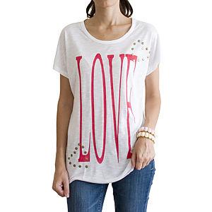 2bTrendy Love Yazılı ve Zımbalı T-Shirt