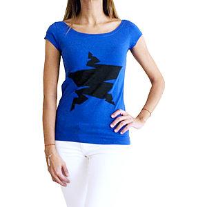 2bTrendy Mavi Yıldız Desenli T-Shirt
