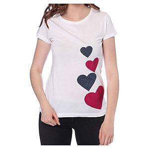 2bTrendy Mor Kalpli Beyaz T-Shirt