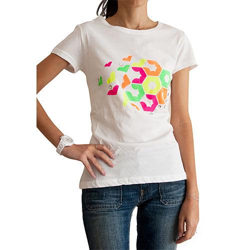 2bTrendy Neon Petek Desenli T-Shirt