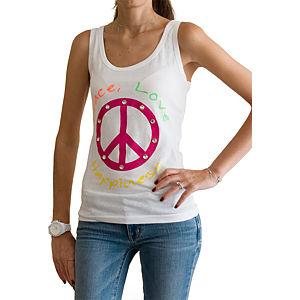 2bTrendy Peace Yazılı Beyaz T-Shirt