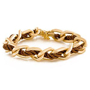 2bTrendy Saten altın kaplama zincir sarma bileklik