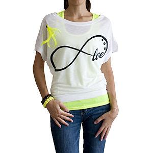 2bTrendy Sonsuzluk Desenli Beyaz T-Shirt