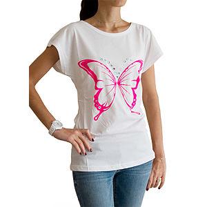 2bTrendy Taşlı Kelebek Desenli Beyaz Tunik