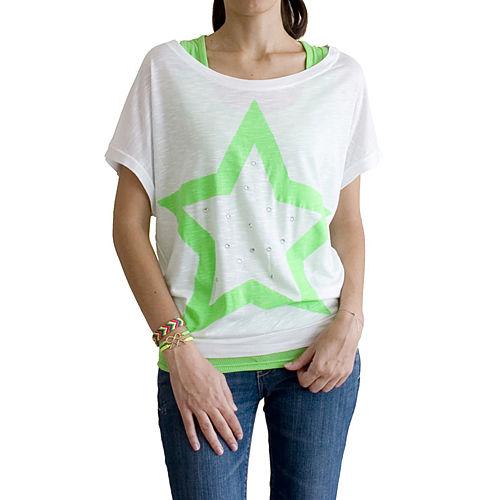2bTrendy Yeşil Yıldız Desenli Beyaz T-Shirt