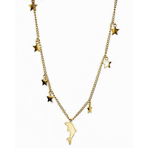 2bTrendy Yıldız ve yunus figürlü altın kaplama kolye