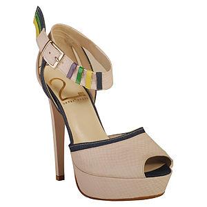 2iki by Sezgi Besli Krem Tasarım Bantlı Topuklu Ayakkabı