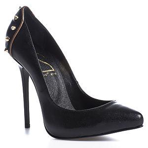 2iki by Sezgi Besli Spike Detaylı Siyah Deri Topuklu Ayakkabı