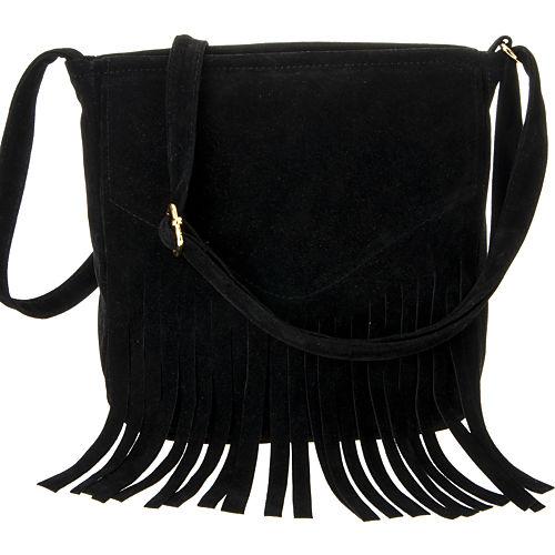 Mecrea Accessories Indigo Siyah Süet Püsküllü Uzun Askılı Çanta