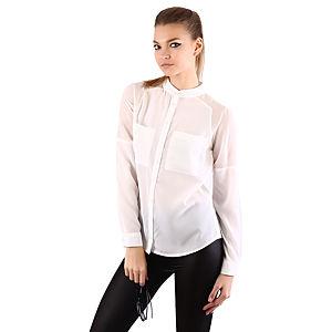 Mecrea Beyaz Şifon Detaylı Tasarım Gömlek