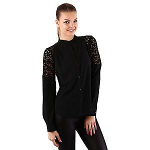 Mecrea Leila Siyah Dantel Detaylı Gömlek