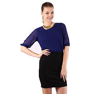 Mecrea Saks Siyah Elegance Şifon Elbise