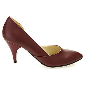 Mecrea Shoes Bordo Alçak Topuk Yanları Açık Stiletto