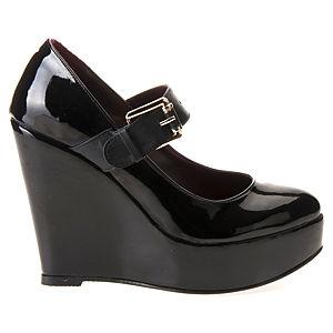 Mecrea Shoes Felicio Siyah Rugan Dolgu Topuklu Ayakkabı