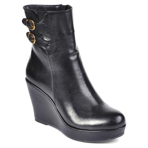 Mecrea Shoes Gold Toka Detaylı Dolgu Topuk Siyah Bot