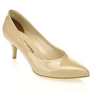 Mecrea Shoes Krem Rugan Alçak Topuklu Ayakkabı