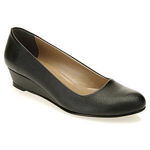 Mecrea Shoes Siyah Deri Alçak Dolgu Topuk Ayakkabı