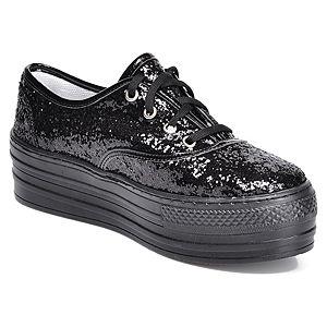 Mecrea Shoes Siyah Payet Topuklu Spor Ayakkabı