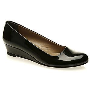 Mecrea Shoes Siyah Rugan Alçak Dolgu Topuk Ayakkabı