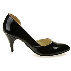 Mecrea Shoes Siyah Rugan Alçak Topuk Yanları Açık Stiletto