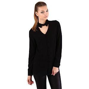 Mecrea Siyah Dekolteli Tasarım Gömlek