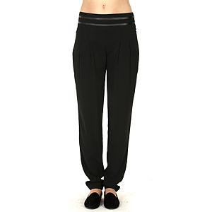 Mecrea Siyah Deri Kuşak Şeritli Pantalon