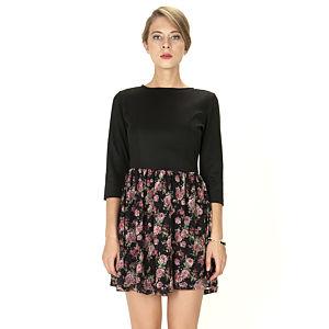 Mecrea Siyah Etekleri Çiçekli Elbise