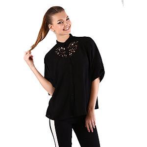 Mecrea Siyah Yarasa Kol Yakası Dekolteli Gömlek