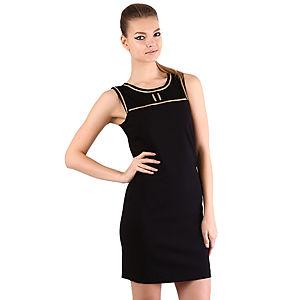 Mecrea Zipper Gold Detaylı Tül Detaylı Siyah Elbise